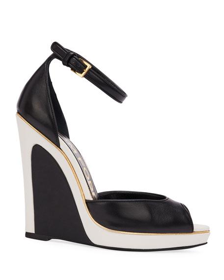 TOM FORD Trompe L'oeil Wedge Sandals, Black/White