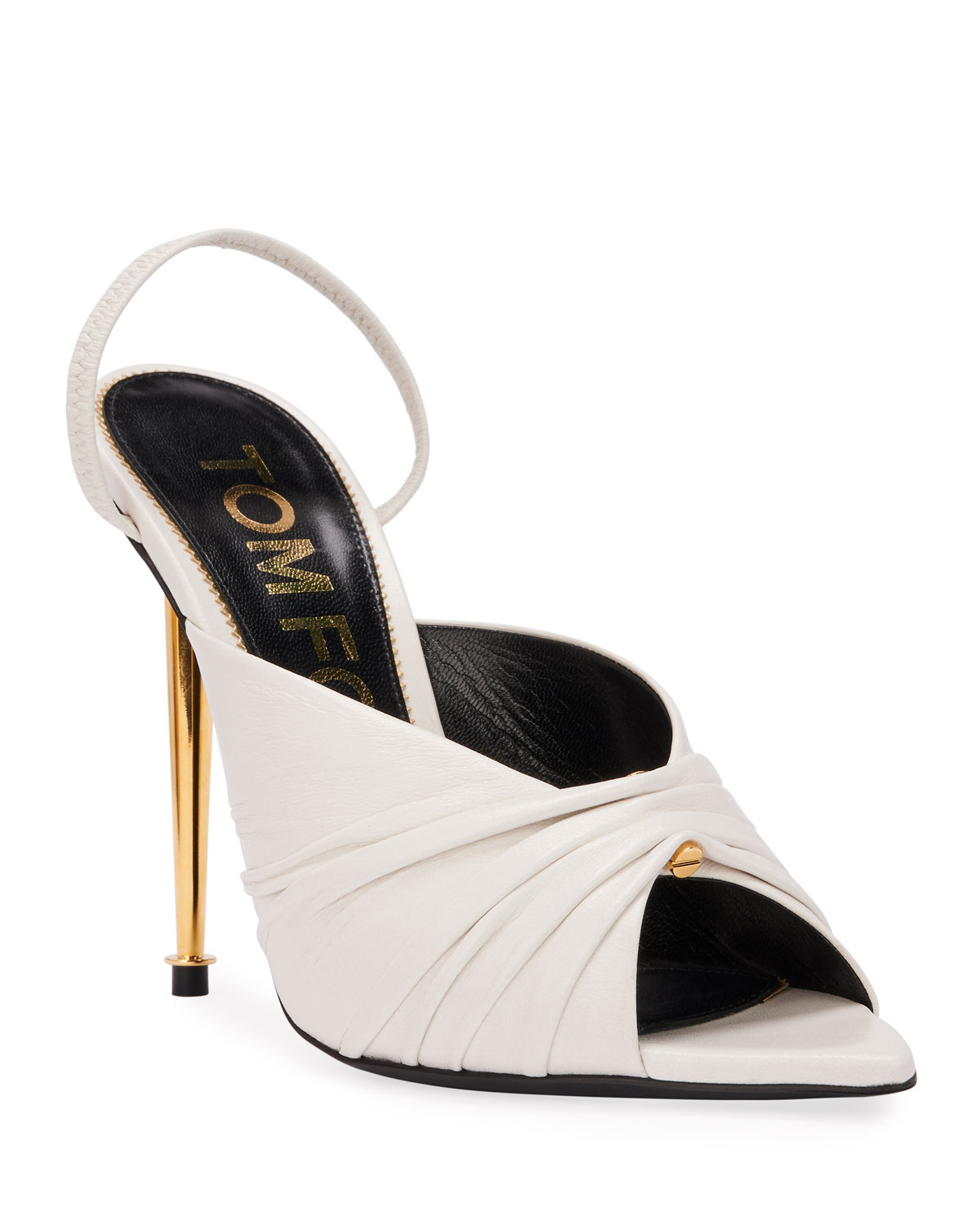 TOM FORD Open-Toe Leather Slingback