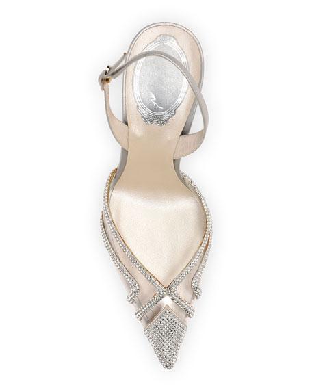 Rene Caovilla Plexy Metallic Crystal Slingback Pumps