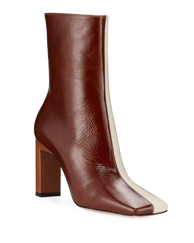 Isa Two-Tone Lacquered Booties
