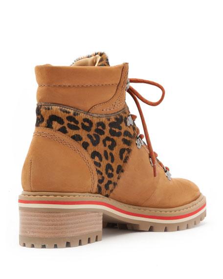 Schutz Keida Hiker Boots with Leopard Detail