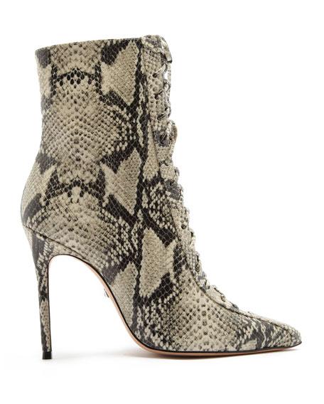 Schutz Anaiya Point-Toe Lace-Up Boots
