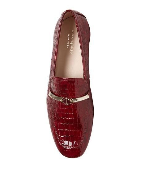 kate spade new york lana crocodile-embossed loafers