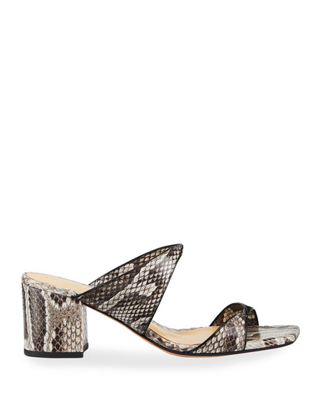 Image 2 of 3: Alexandre Birman Miki Python Twist Slide Sandals