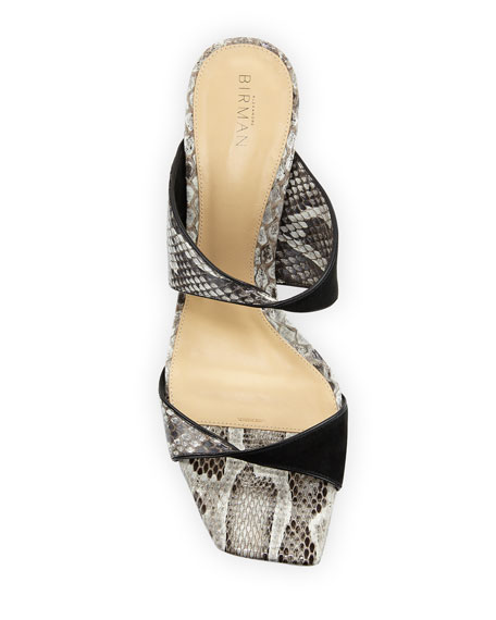 Image 3 of 3: Alexandre Birman Miki Python Twist Slide Sandals