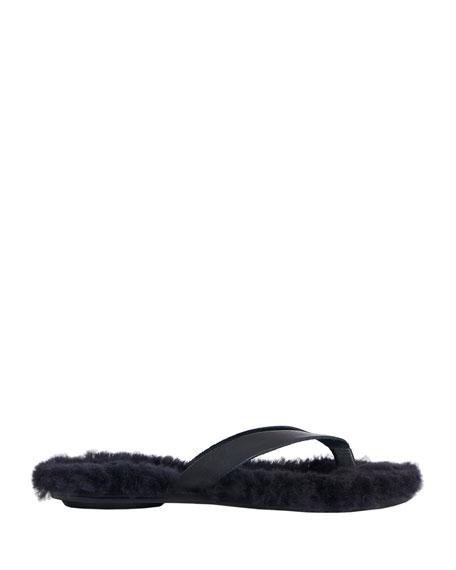 Tibi Bryan Calf & Shearling Flip-Flop Sandals