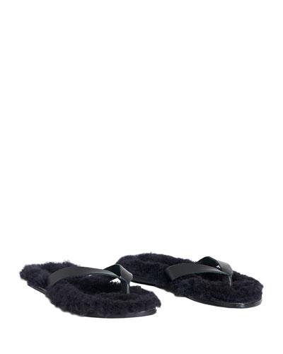 Bryan Calf & Shearling Flip-Flop Sandals