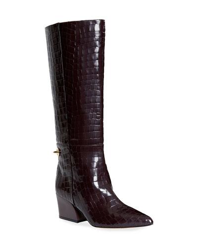 Rowan Crocodile-Embossed Knee Boots