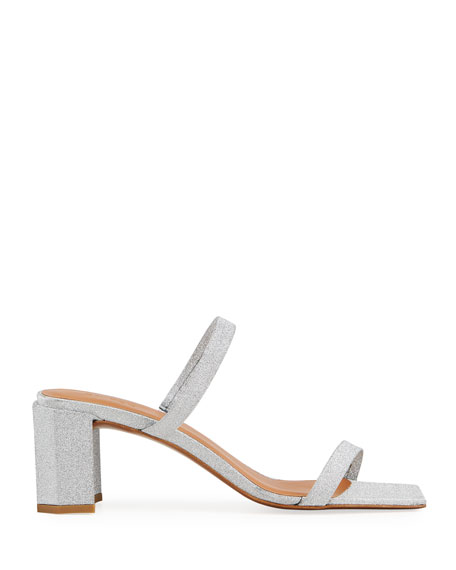 BY FAR Tanya Glitter Leather Sandals