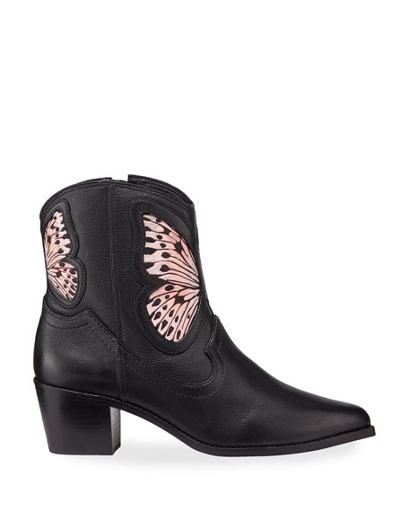 Image 2 of 3: Sophia Webster Shelby Leather Butterfly Booties