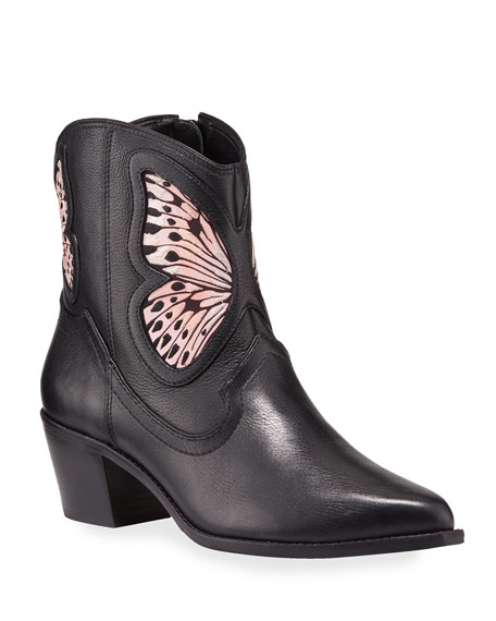 Image 1 of 3: Sophia Webster Shelby Leather Butterfly Booties