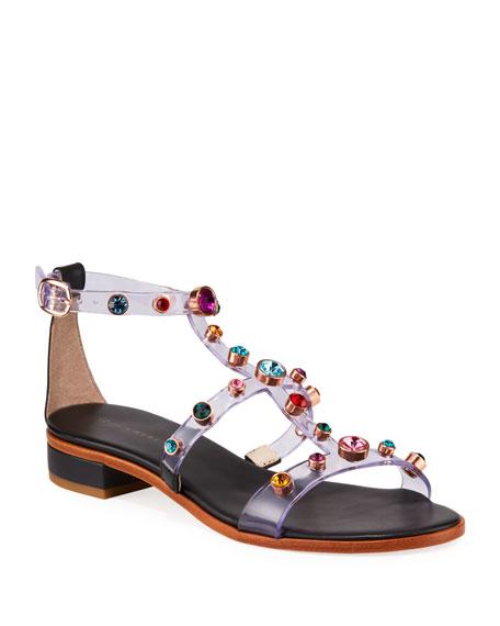 Sophia Webster Dina Gem Studded Flat Sandals