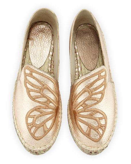 Sophia Webster Butterfly Metallic Flat Espadrilles