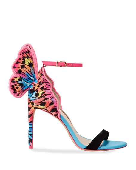 Image 2 of 3: Chiara Embroidered Butterfly Satin Sandals