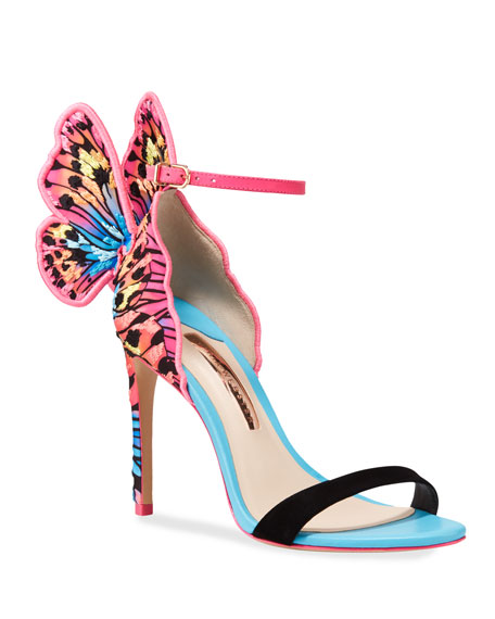 Image 1 of 3: Chiara Embroidered Butterfly Satin Sandals