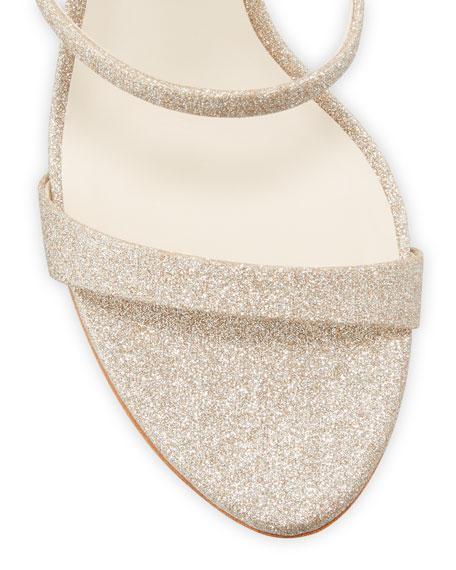 Sophia Webster Rosalind Glitter Mid-Heel Crystal Pearly Sandals