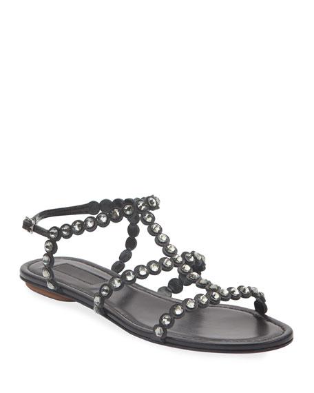 Aquazzura Tequila Jeweled Flat Sandals