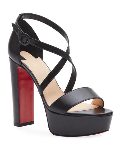 Loubi Sleek Leather Red Sole Platform Sandals