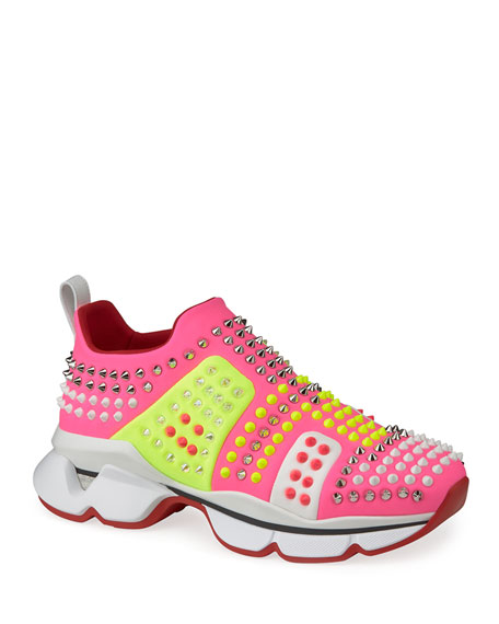 Christian Louboutin Fun For Run Studded Colorblock Slip-On Sneakers