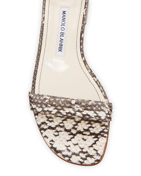 Manolo Blahnik Chaos Snakeskin Ankle-Strap Sandals
