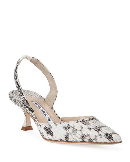 MANOLO BLAHNIK Low heels CAROLYN SNAKESKIN SLINGBACK PUMPS