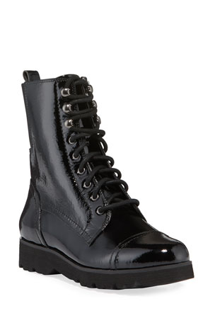 Donald J Pliner Camren Cap-Toe Patent Leather Hiker Boots