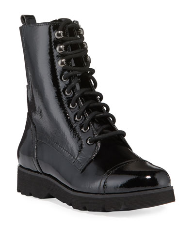 Camren Cap-Toe Patent Leather Hiker Boots