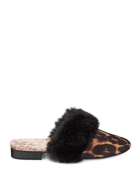 Taryn Rose Bev Leopard Velvet House Slippers