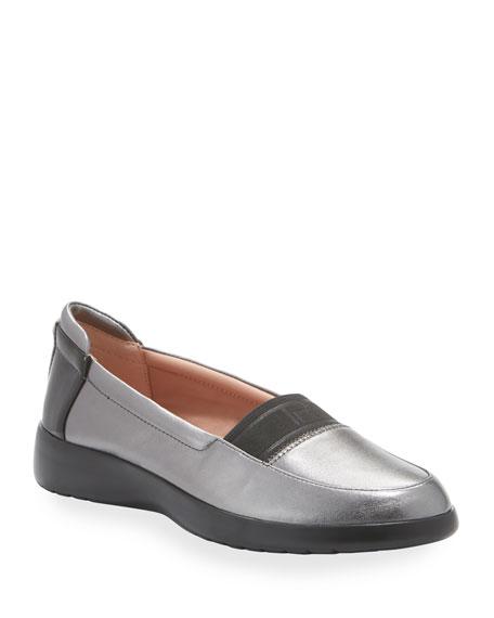 Taryn Rose Tiffany Weatherproof Metallic Leather Comfort Slip-On Flats