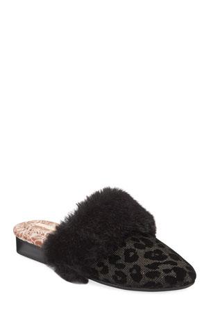 Taryn Rose Bev Leopard Velvet House Slippers