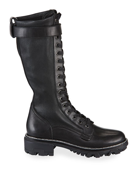 Image 2 of 3: Shiloh Tall Leather Combat Boots