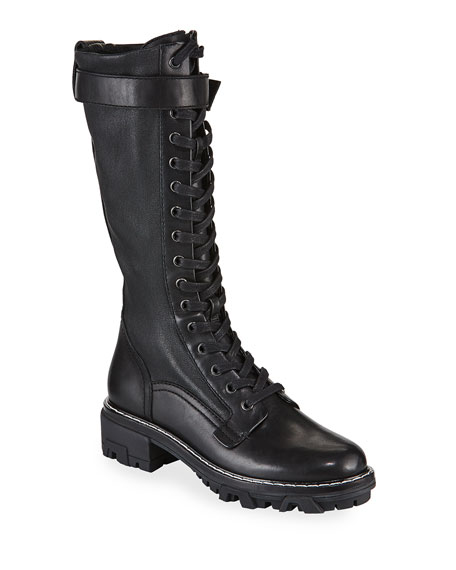 Image 1 of 3: Shiloh Tall Leather Combat Boots