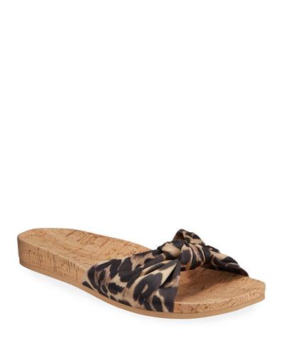 Tilly Leopard-Print Satin Slide Sandals
