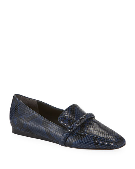 Veronica Beard Grier Snake-Print Leather Loafers