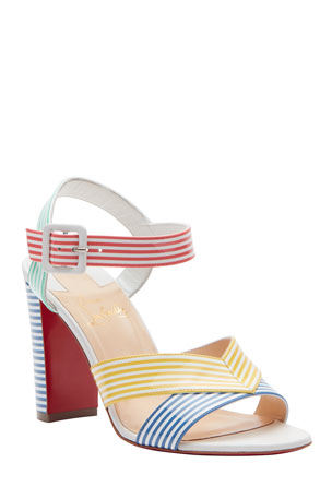 Christian Louboutin Palavas Multicolored Striped 85mm Red Sole Sandals