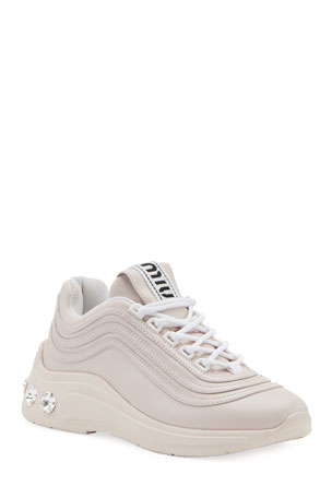Miu Miu Jeweled-Heel Trainer Sneakers