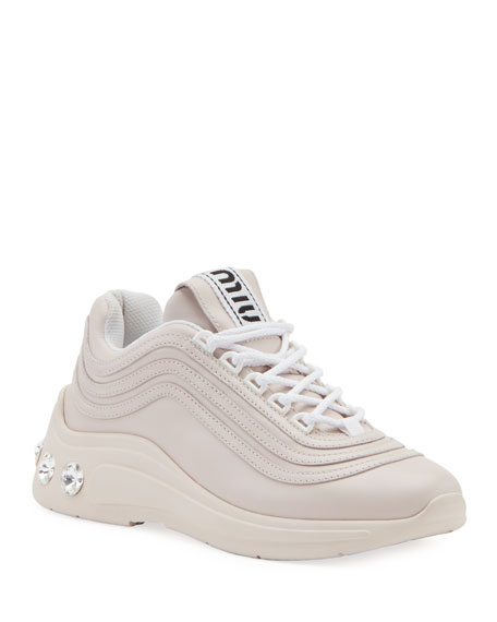 Miu Miu Jeweled-Heel Trainer Sneakers