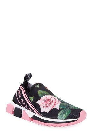 Dolce & Gabbana Sorrento Rose Knit Trainer Sneakers