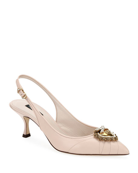 Dolce & Gabbana Devotion Leather Slingback Pumps