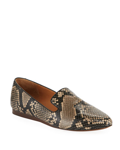 Griffin Python-Print Leather Loafers