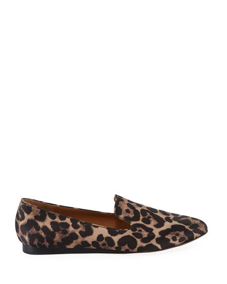 Veronica Beard Griffin Leopard-Print Satin Loafers