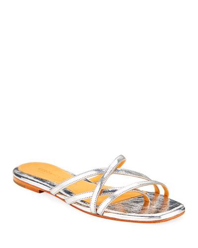 Martha Strappy Metallic Leather Sandals