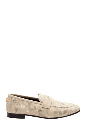 Bougeotte Embroidered Floral Flat Loafers