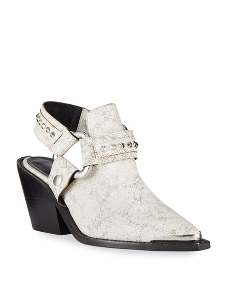 Zadig & Voltaire Rustic Leather Harness Mule Booties