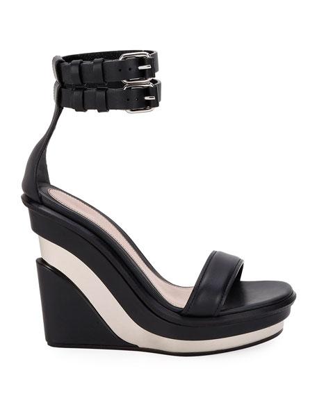 Alexander McQueen Metal Rib Strappy Wedge Sandals