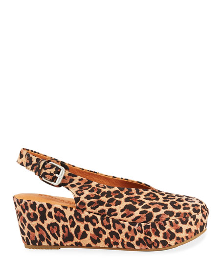 Gentle Souls Nyomi Leopard Comfort Wedge Pumps