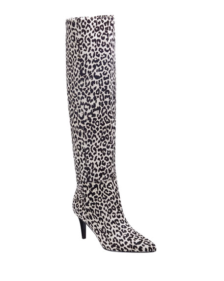 Image 1 of 4: Marc Fisher LTD Ginniely Leopard Calf Hair Knee Boots