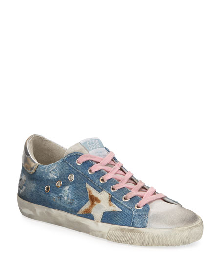 Golden Goose Superstar Denim Metallic Sneakers