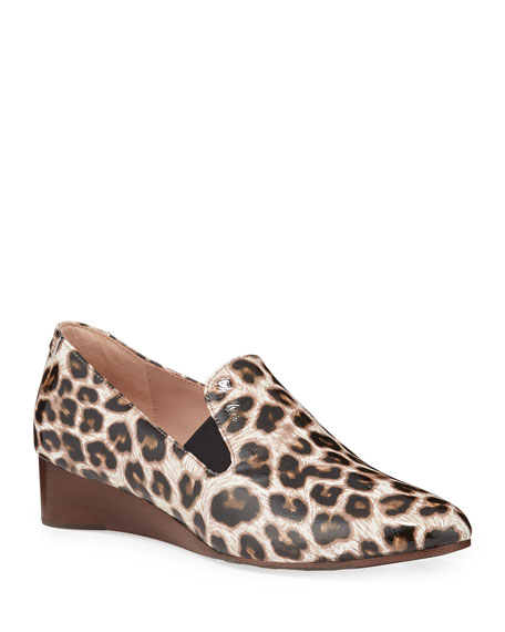 Taryn Rose Collection Claudia Leopard Wedge Slip-Ons