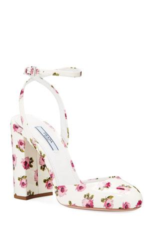 Prada Floral Patent Ankle Pumps